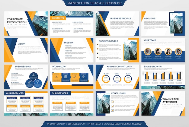 Präsentationslayout-vorlage Premium Vektoren