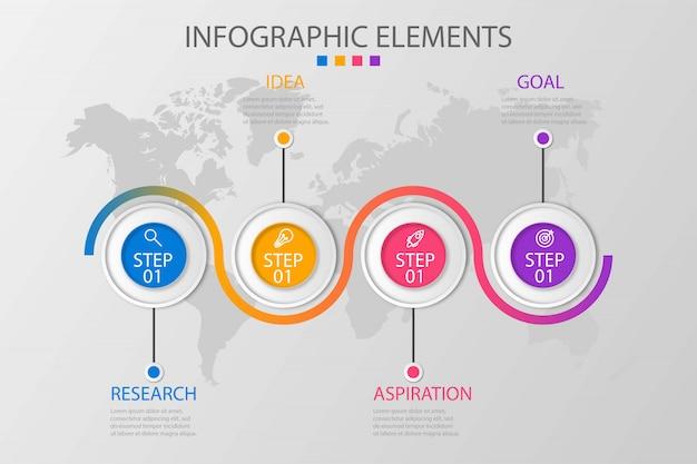 Präsentationsvorlage business infografik mit 4 optionen Premium Vektoren