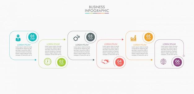 Präsentationsvorlage business infografik mit 6 optionen. Premium Vektoren
