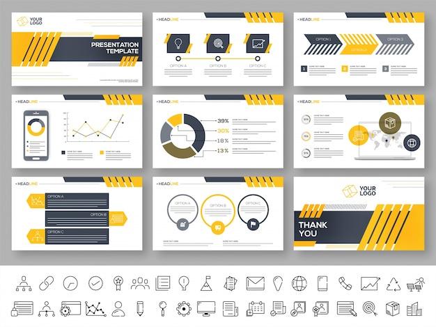 Präsentationsvorlage mit infografischen elementen. Premium Vektoren