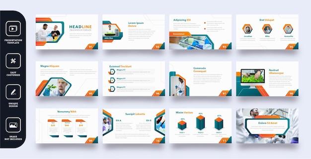 Präsentationsvorlagen für moderne geschäftsfolien Premium Vektoren