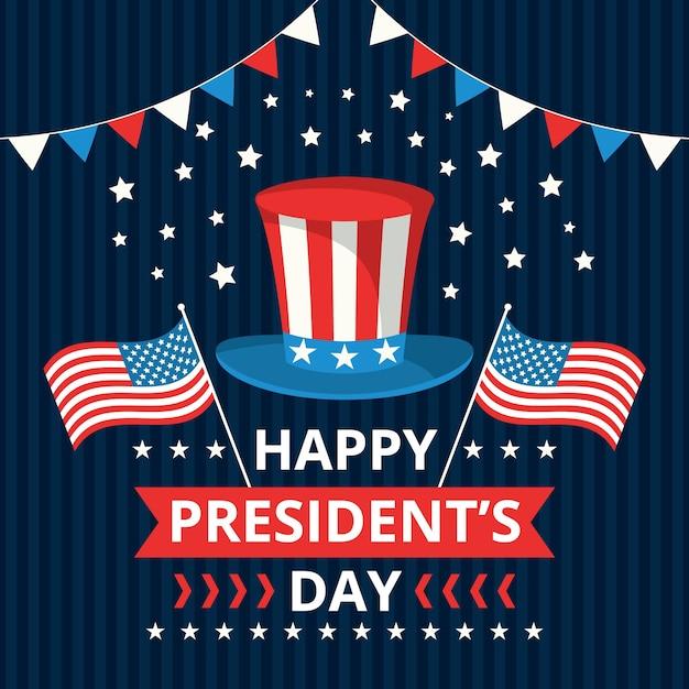 Präsidententag mit hut und fahnen Kostenlosen Vektoren