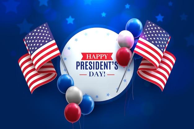Präsidententag mit realistischen luftballons Kostenlosen Vektoren
