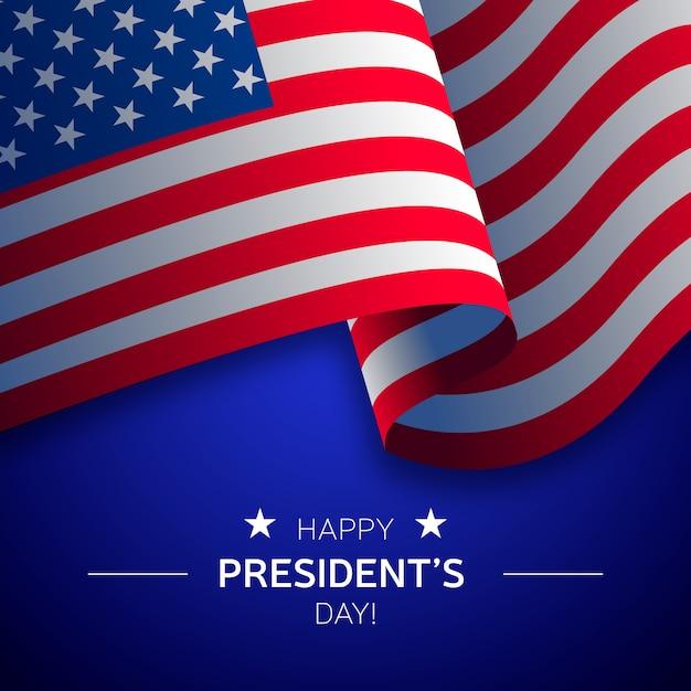 Präsidententag schriftzug mit realistischer flagge Kostenlosen Vektoren