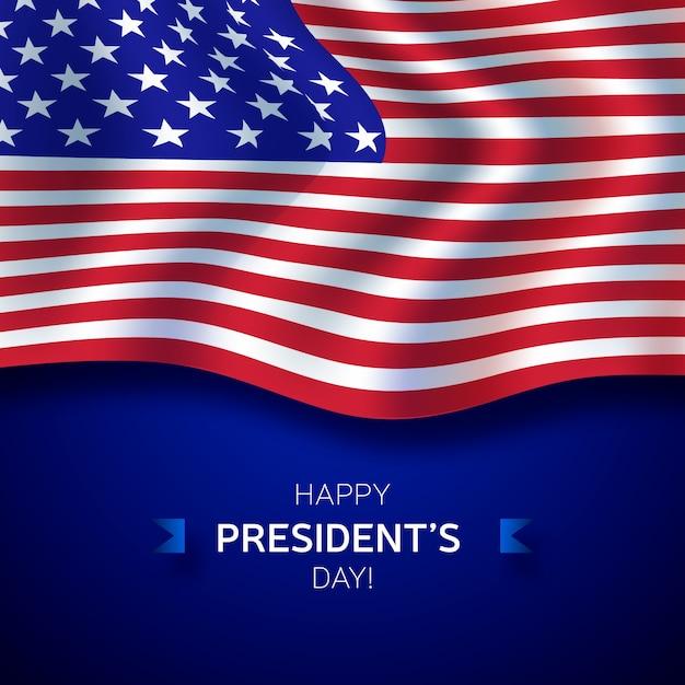 Präsidententagsbeschriftung mit amerikanischer realistischer flagge Kostenlosen Vektoren