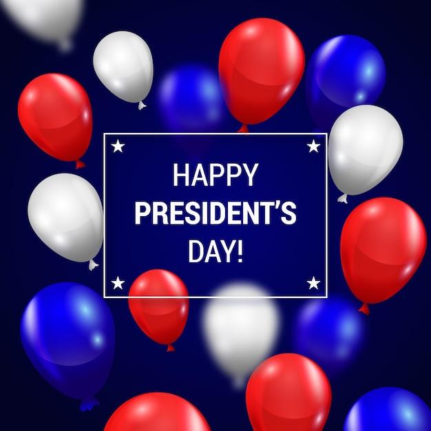 Präsidententagsbeschriftung mit bunten realistischen ballonen Kostenlosen Vektoren