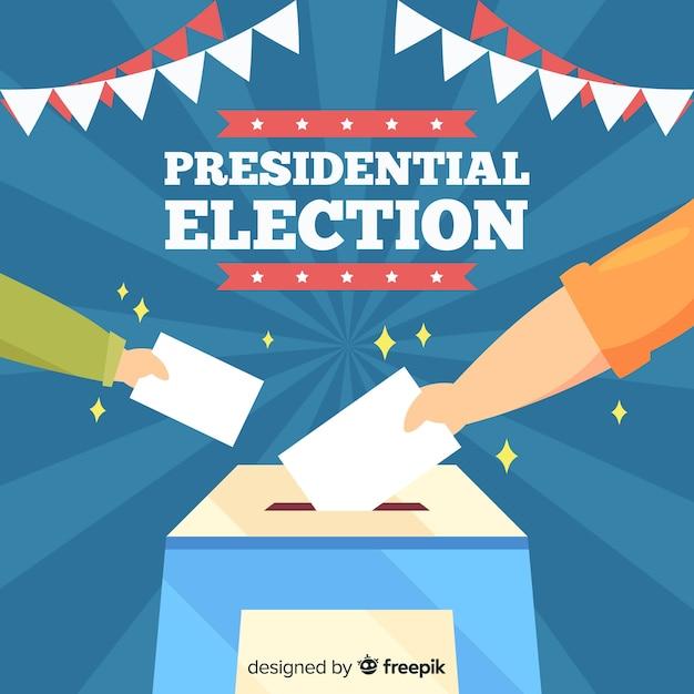Präsidentenwahlzusammensetzung mit flachem design Kostenlosen Vektoren