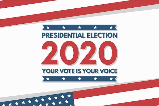 Präsidentschaftswahl 2020 in den usa tapete mit flagge Premium Vektoren