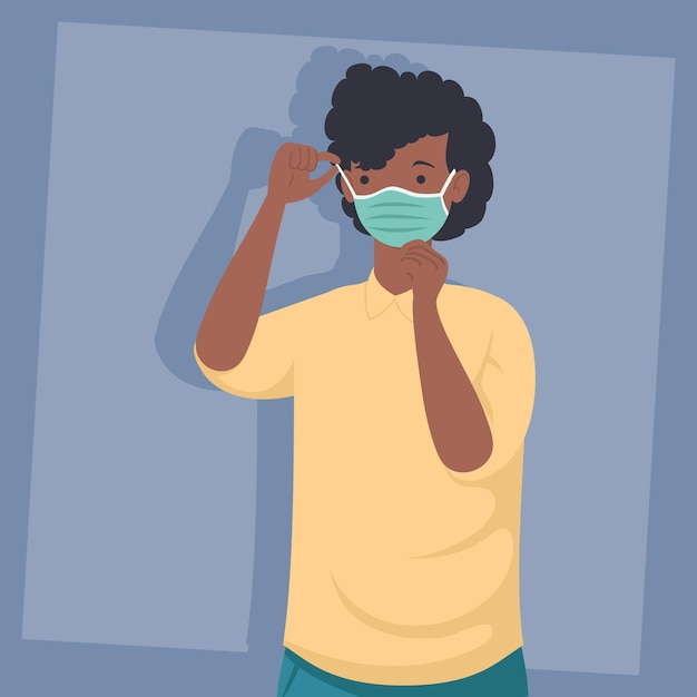 Prävention covid, mann afro tragen medizinische maske isoliert symbol illustration design Premium Vektoren