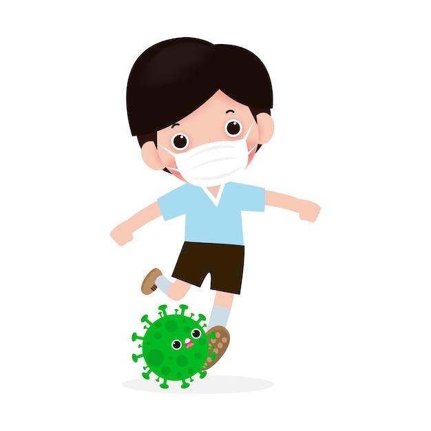 Prävention der coronavirus-krankheit. menschen kämpfen mit coronavirus (2019-ncov), charakter menschen treten covid-19, antivirus und bakterien, gesunder lebensstil konzept isoliert Premium Vektoren