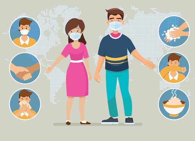 Prävention von coronavirus (covid-19). vater und mutter erklären infografiken, tragen eine gesichtsmaske, waschen sich die hände, essen warme speisen und vermeiden es, risiken einzugehen. Premium Vektoren