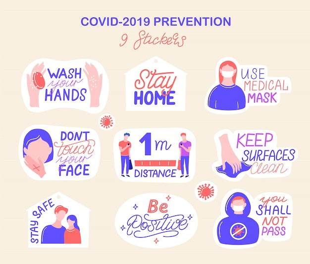 Prävention von coronavirus covid-19 Premium Vektoren