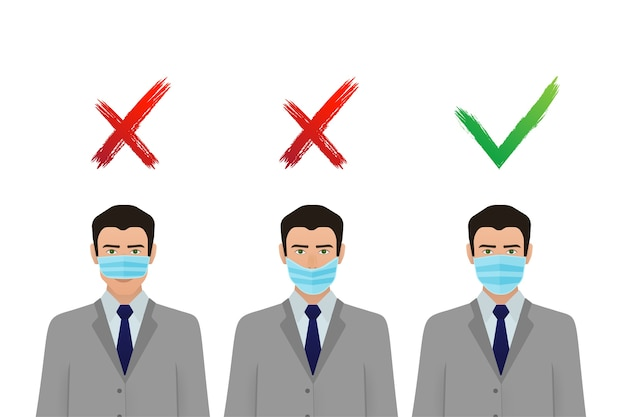 Prävention von coronavirus-pandemien. medizinisches maskensymbol. coronavirus schutz . Premium Vektoren