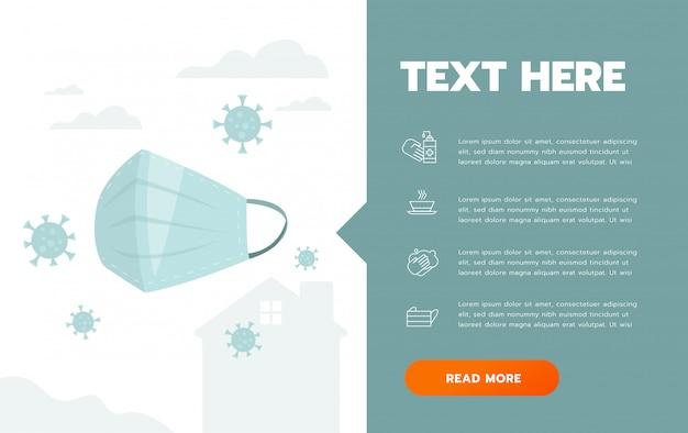Prävention von covid-19 hygienemaske infografik poster illustration. coronavirus-schutzflyer Premium Vektoren