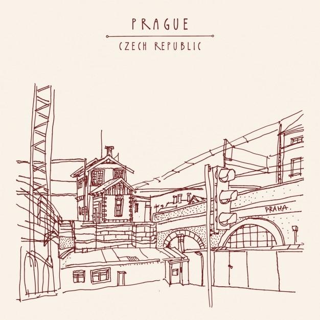 Prag hintergrund-design Kostenlosen Vektoren