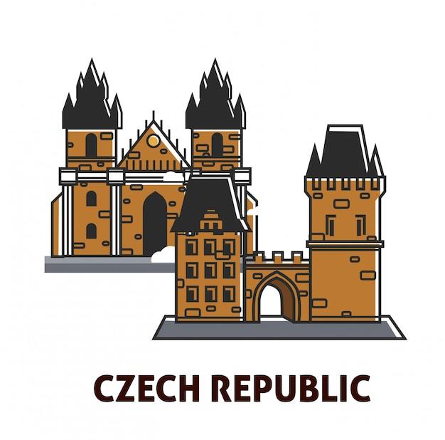 Prag-schloss im königlichen symbol des besichtigungsmarksteins der tschechischen republik für reise Premium Vektoren