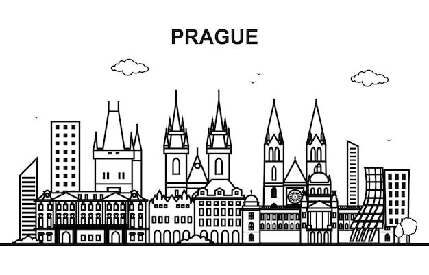 Prag-stadtrundfahrt-stadtbild-skyline-linie Premium Vektoren
