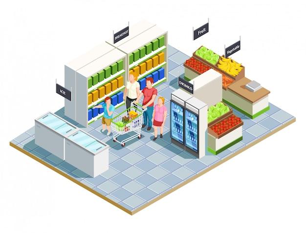 Praktische shop-familienkomposition Kostenlosen Vektoren
