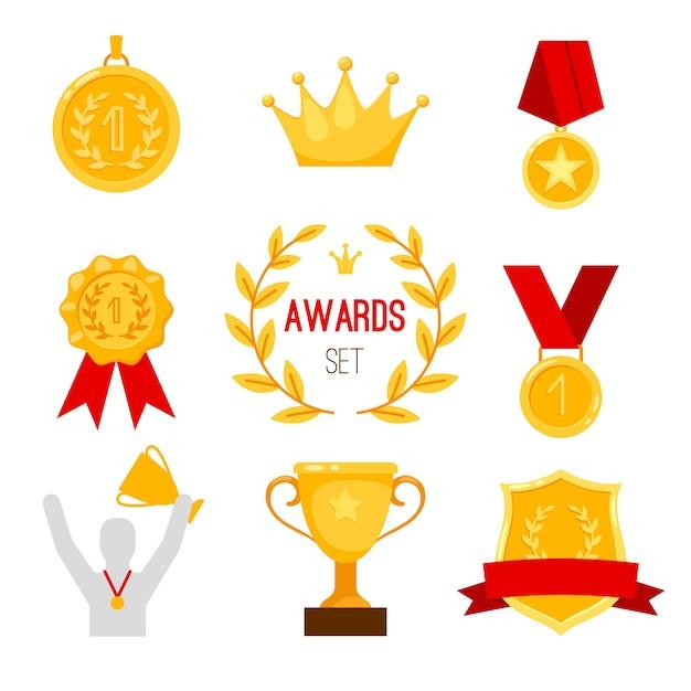 Preis trophäe und medaillenset Premium Vektoren