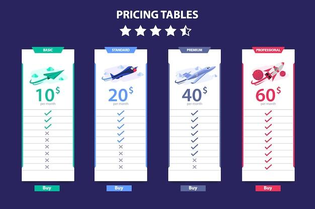 Preisgestaltung tabelle 4 verschiedene ebene vektor vorlage dunkel Premium Vektoren