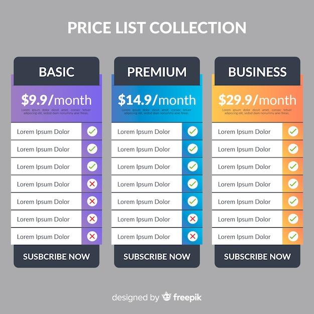 Preislistensammlung Kostenlosen Vektoren