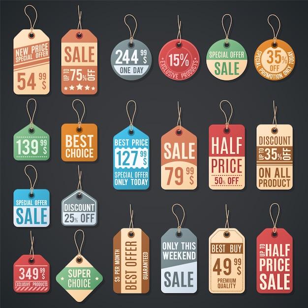 Preisschilder und verkaufskennsätze mit faden. kleineinkaufsrabattkarte auf seil, unterschiedliche ausweisförderungsillustration Premium Vektoren