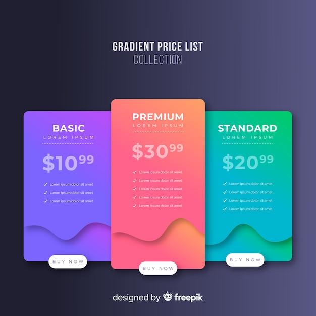 Preistabellen Kostenlosen Vektoren
