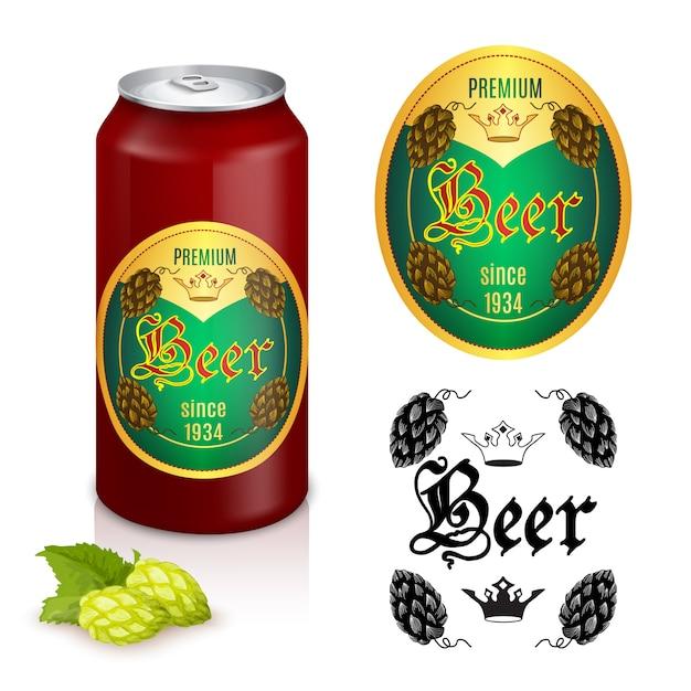 Premium bieretikettendesign Kostenlosen Vektoren