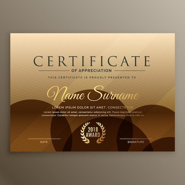Premium braune zertifikat design vorlage Kostenlosen Vektoren