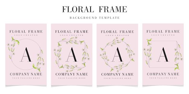 Premium brief ein logo mit floraler rahmenvorlage Premium Vektoren