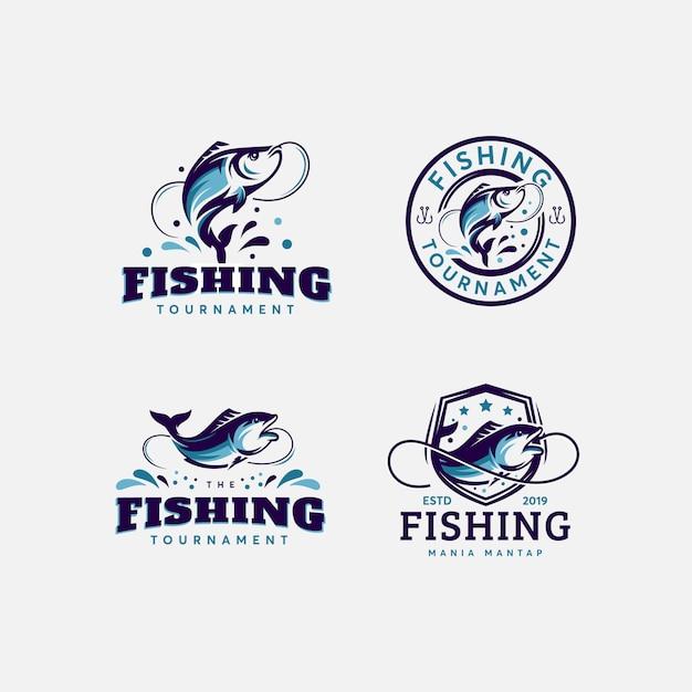 Premium-bundle designvorlage für fische und fischerei-logos Premium Vektoren