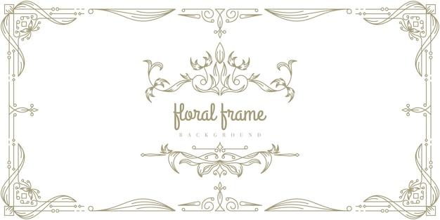 Premium floral frame hintergrundvorlage Premium Vektoren