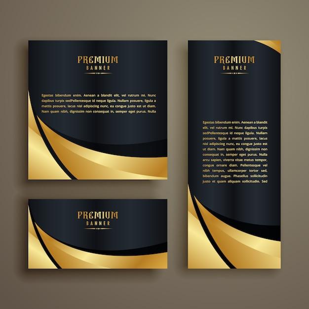 Premium glänzend goldene welle banner-design Kostenlosen Vektoren