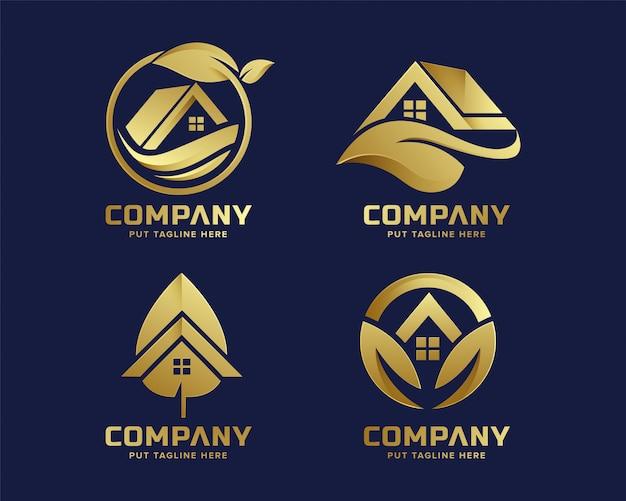 Premium gold eco house logo vorlage für unternehmen Premium Vektoren