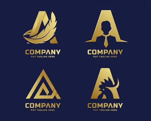 Premium gold letter a logo für unternehmen Premium Vektoren