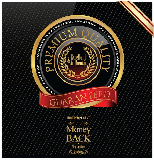 Premium-goldenes etikett Premium Vektoren