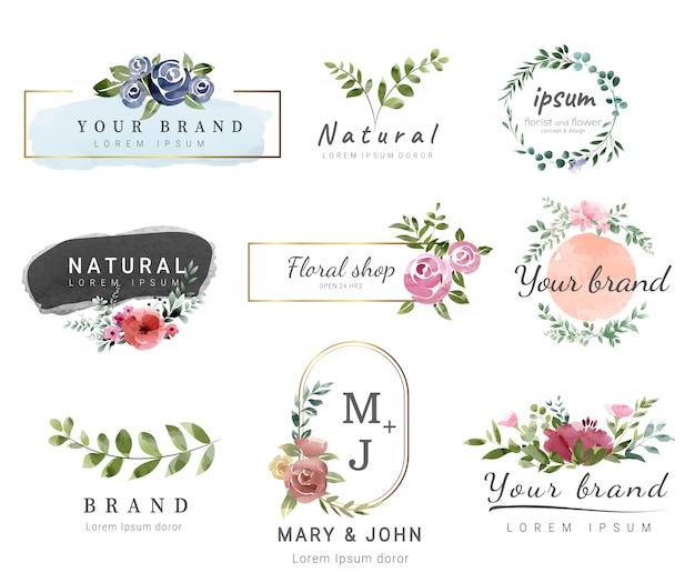 Premium logo vorlage aquarell-stil Premium Vektoren