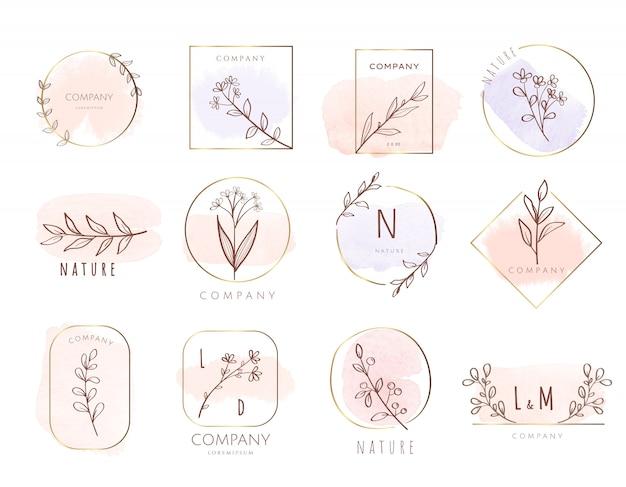 Premium-logo vorlage aquarell-stil Premium Vektoren
