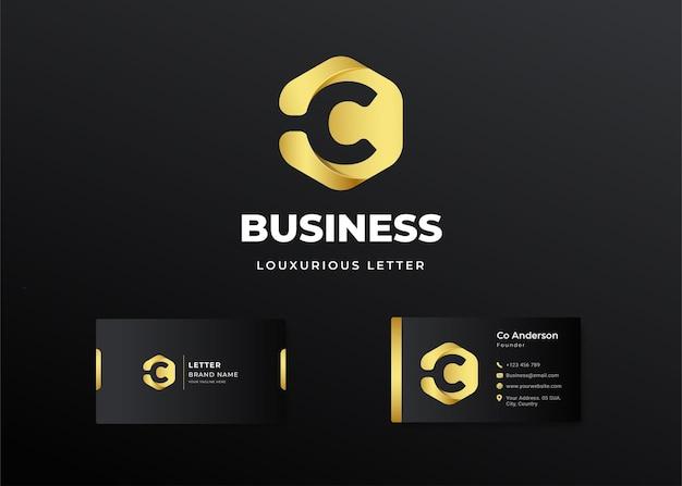 Premium luxus brief initial c logo und visitenkarte design Premium Vektoren