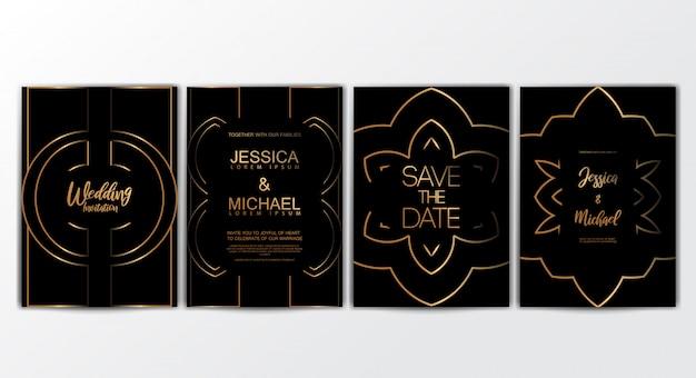 Premium luxus hochzeit einladungskarten Premium Vektoren