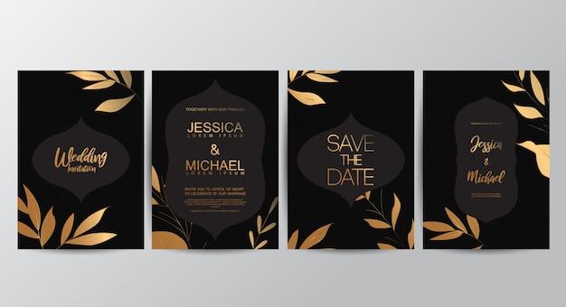 Premium-luxus-hochzeitseinladungskarten Premium Vektoren