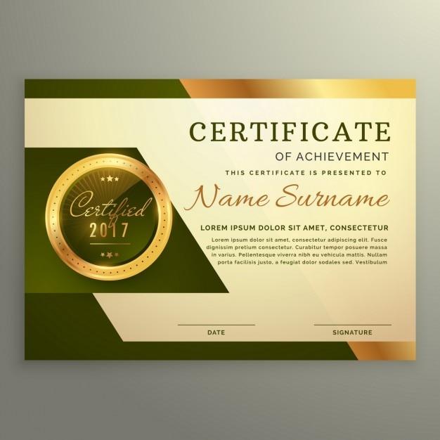 Premium-luxus-zertifikat der leistung in den goldenen stil Kostenlosen Vektoren