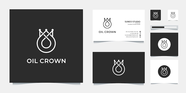 Premium-ölkrone linie stil logo-design und visitenkarte Premium Vektoren