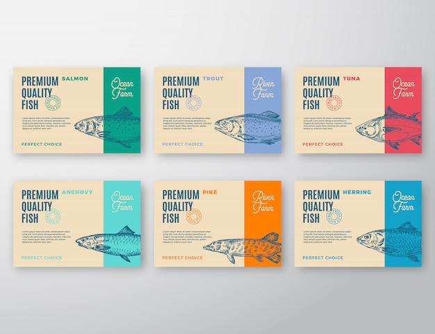 Premium qualität fischetiketten set. Premium Vektoren