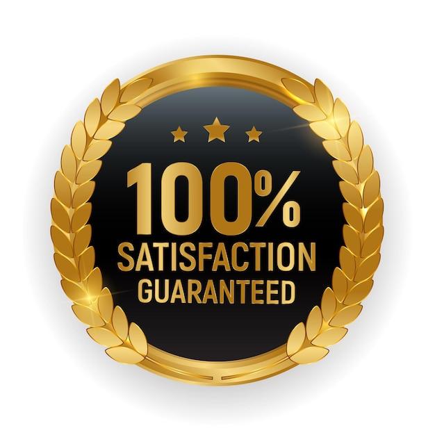 Premium-qualität goldmedaille abzeichen.100 zufriedenheit garantiert zeichen auf weißem hintergrund isoliert. Premium Vektoren