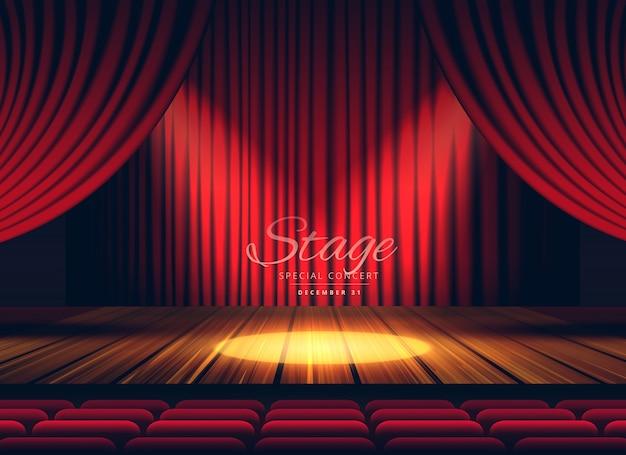 Premium rote vorhänge bühnen theater oder oper hintergrund mit scheinwerfer Kostenlosen Vektoren
