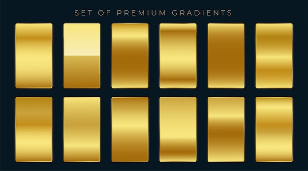 Premium-satz von goldenen farbverläufen Kostenlosen Vektoren