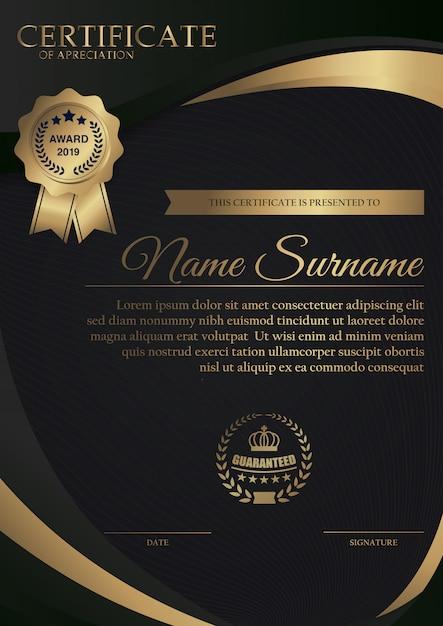 Premium schwarz zertifikatvorlage mit gold dunkel Premium Vektoren