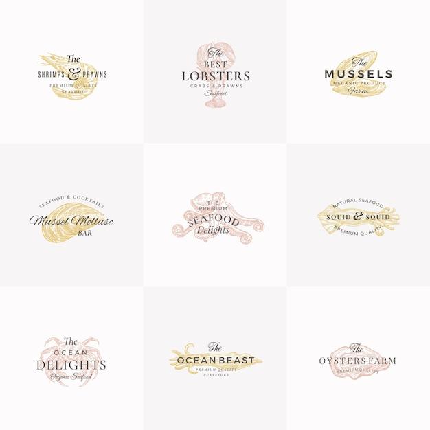 Premium seafood abstract zeichen, symbole oder logo-vorlagen-set. Kostenlosen Vektoren