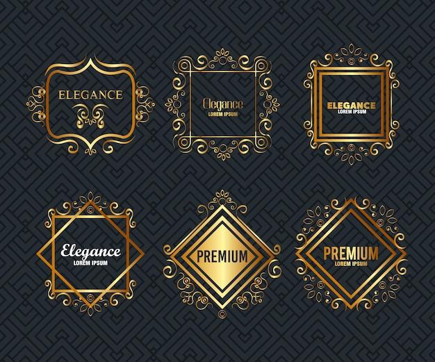 Premium und eleganz setzen rahmen Kostenlosen Vektoren
